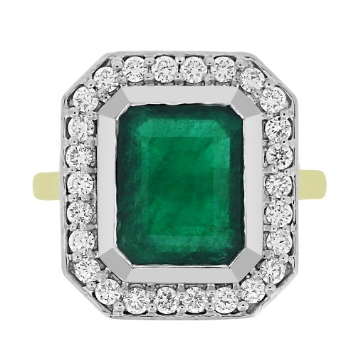 Emerald Octagon with Diamond RBC Rubover Cluster Ring