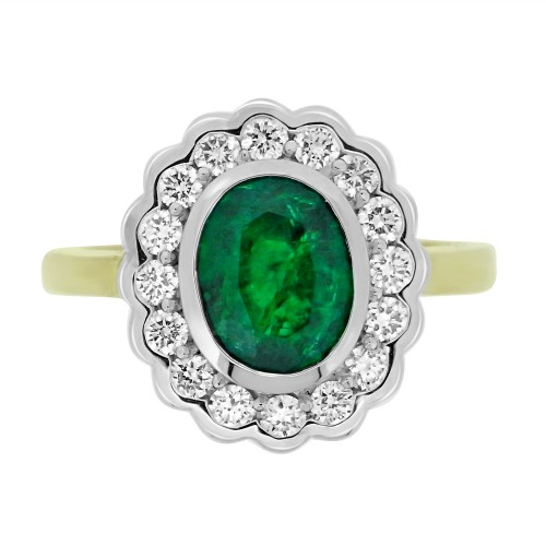 Emerald Oval with Diamond RBC Rubover Scalloped Edge Cluster Ring