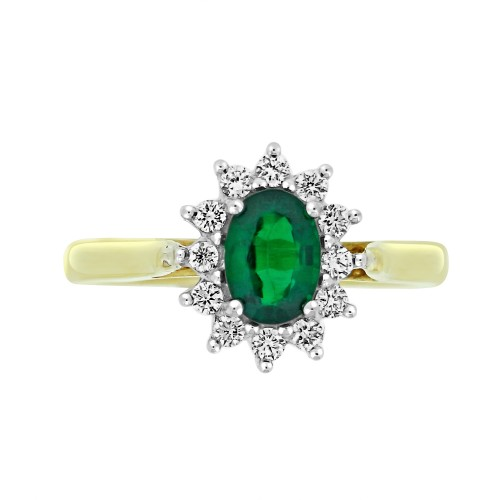 Emerald Oval & Diamond YWG Cluster Ring