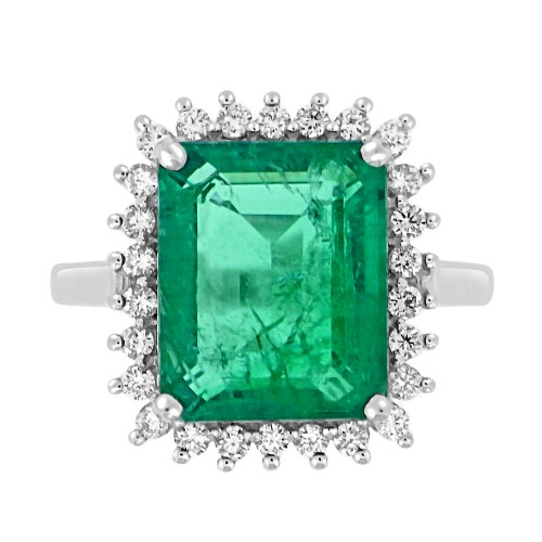 Emerald Octagon 6.10ct w/ RBC 0.33ct Claw Set Cluster Ring