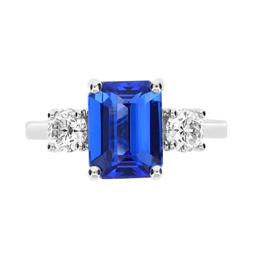 Tanzanite Emerald Cut with Diamond RBC Ring