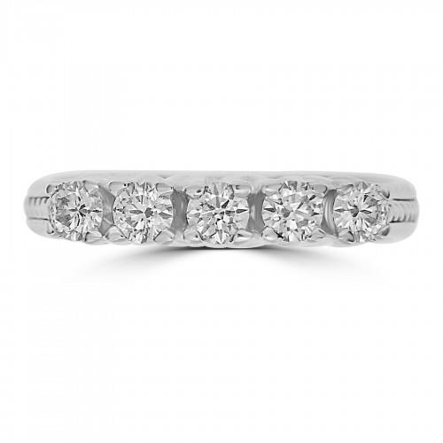 18W RBC 0.54ct Claw Set With Rope Detail 5 Stone Ring