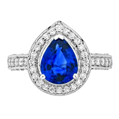 Sapphire Pear with Diamond Halo Surround Ring