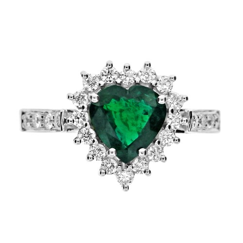 Emerald Heart Shape with Diamond Cluster Ring