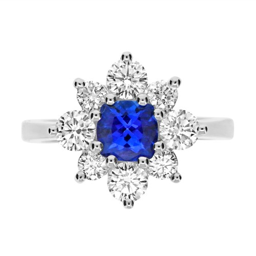 Tanzanite Cushion with Diamond Cluster Ring
