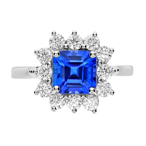 Tanzanite Sq. Emerald Cut with Diamond Cluster Ring