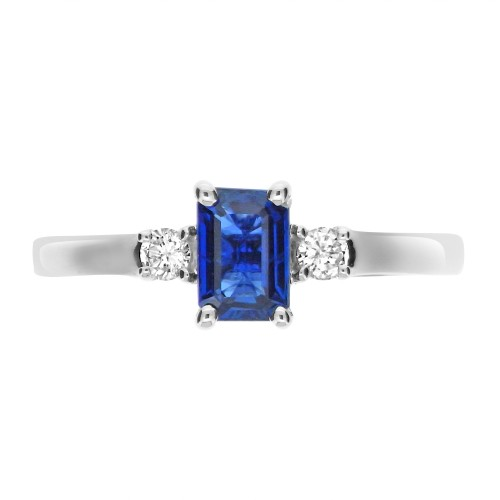 Sapphire & Diamond RBC 3 Stone Ring