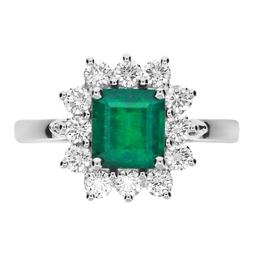 Emerald Octagon 1.33ct w/ 12x RBC 0.68ct Claw Set Cluster Ring