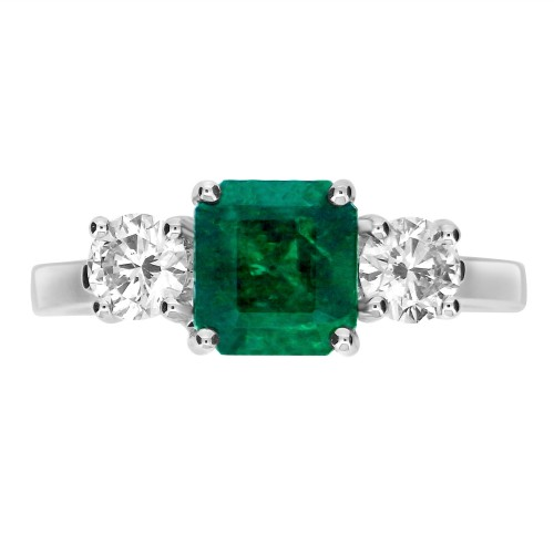 Emerald Square Octagon & Diamond RBC 3 Stone Ring