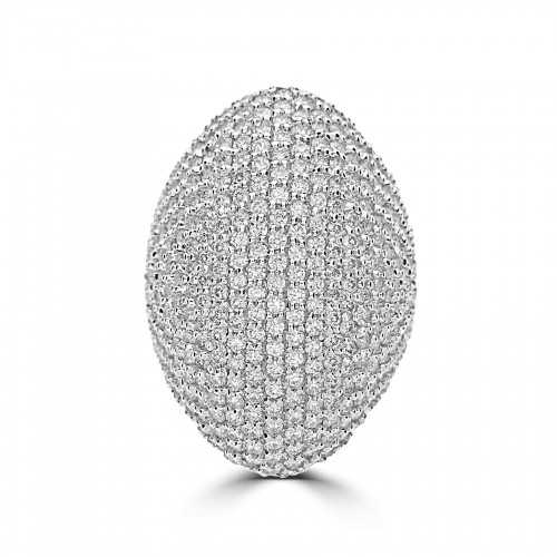 18WG Large RBC Pavé Pointed Oval Domed Dress Ring
