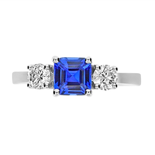 Tanzanite Sq. Emerald Cut with Diamond RBC Ring