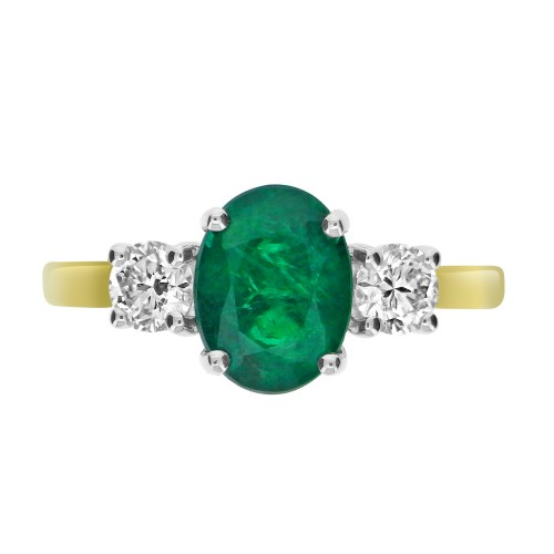 Emerald Oval & Diamond RBC YWG 3 Stone Ring