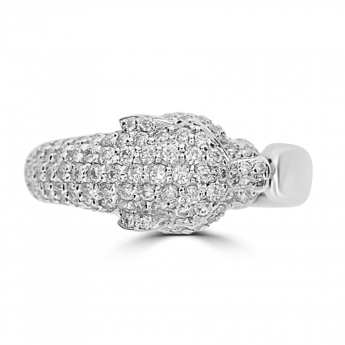 18WG Pavé Set Panther Head Open Ring