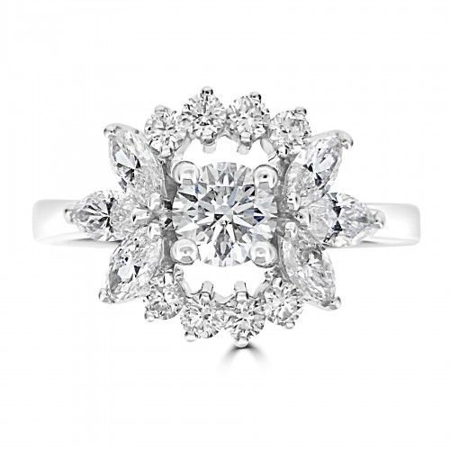 18WG Larger RBC Centre w/ Smaller RBC & Marquise Cluster Ring