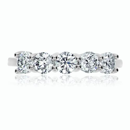 18W RBC 1.15ct 4 Claw Set 5 Stone Ring
