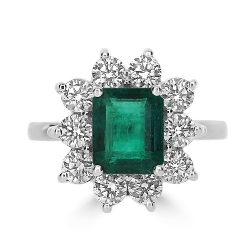 Emerald Octagon 2.26ct & 10x RBC 2.09ct Claw Set Cluster Ring