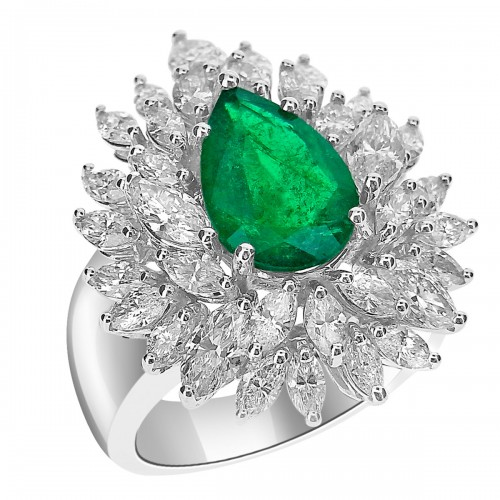 Emerald Pear & Diamond Marquise Fancy Cluster Ring