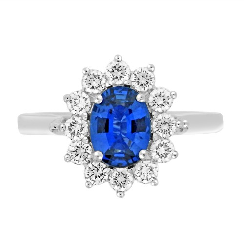 Sapphire Oval with Diamond RBC Cluster Ring