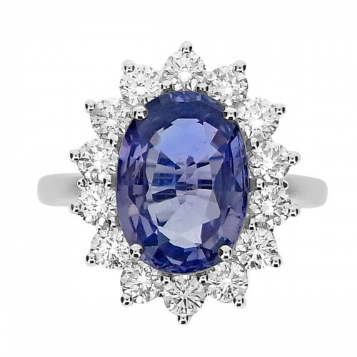 Unheated Natural Sapphire Oval with Diamond RBC Cluster Ring
