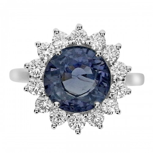 Unheated Natural Sapphire Round with Diamond RBC Cluster Ring
