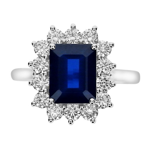 Sapphire Octagon with Diamond RBC Cluster Ring