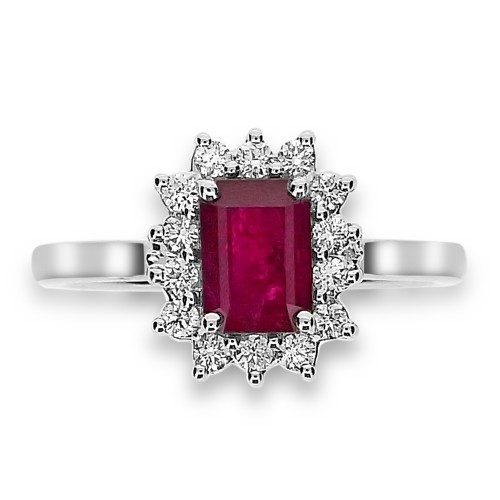 Ruby Octagon and Diamond Cluster Ring