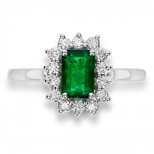 Emerald Octagon 1.00ct With 14x Rbc 0.28ct Cluster Ring