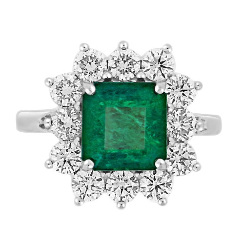 Emerald Square Octagon & Diamond RBC Cluster Ring