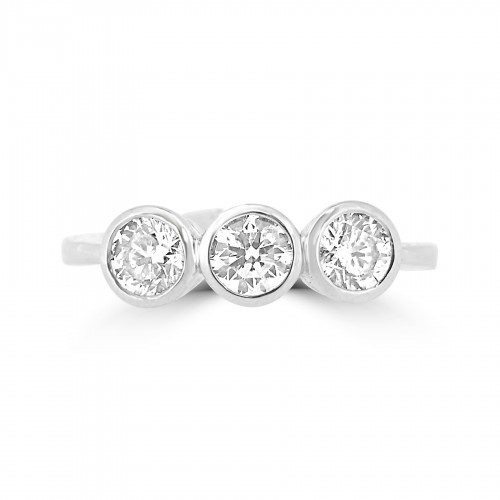 18W RBC 1.26ct Rubover 3 Stone Ring