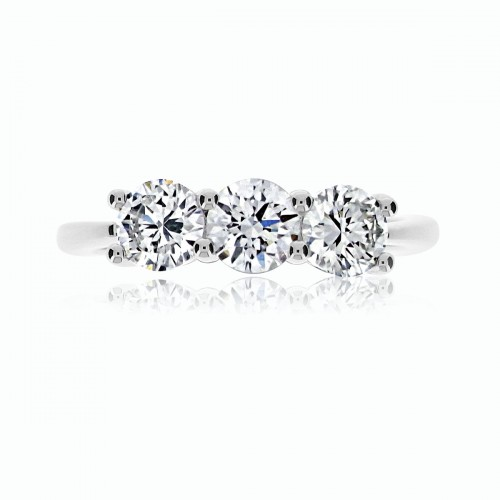 18W RBC 1.21ct Shared Claw 3 Stone Ring