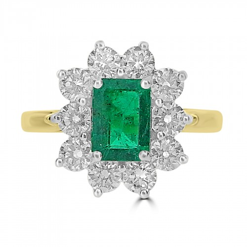 Emerald Octagon 1.30ct with 10x RBC 1.33ct Cluster Ring