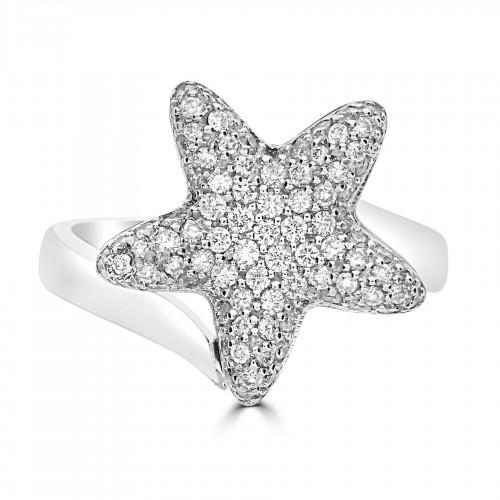 18WG Pavé Set Starfish Ring