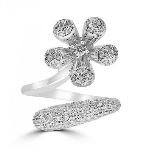 18WG Pavé Set Crossover Design Flower Ring