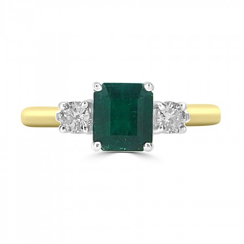 Emerald Octagon 1.20ct w/ 2x RBCs Dia 3 Stone Ring