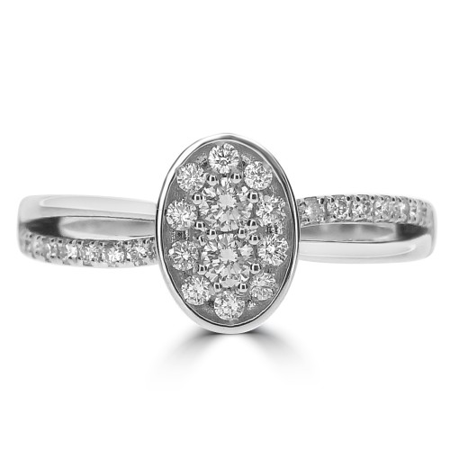 18WG RBC 0.33ct Pave in Oval Centre w/ RBC Shoulders Set Ring