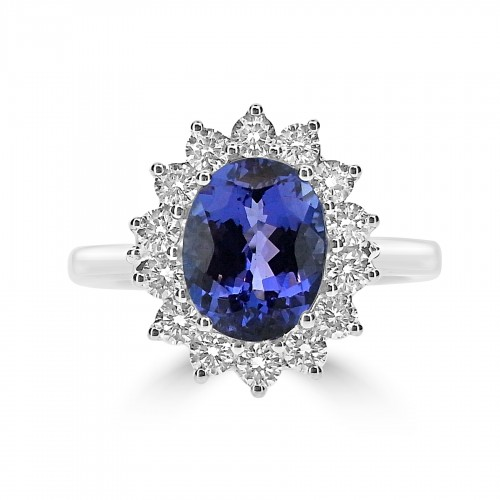 Tanzanite Oval with Diamond Cluster Ring