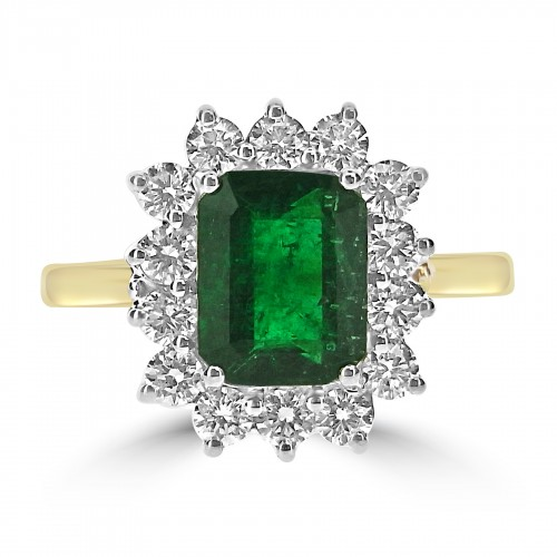 Emerald Octagon 1.81ct w/ 14x RBC 0.74ct Cluster Ring