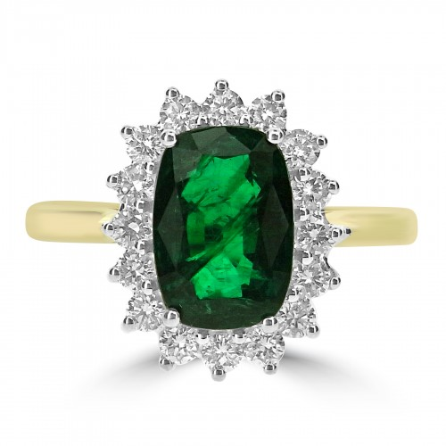Emerald Cushion 2.38ct with 16x RBC 0.51ct Cluster Ring