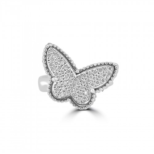 18WG RBC Pave Butterfly Ring