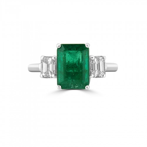 Emerald Octagon 1.77ct with 2x Diamond Octagon 3 Stone Ring