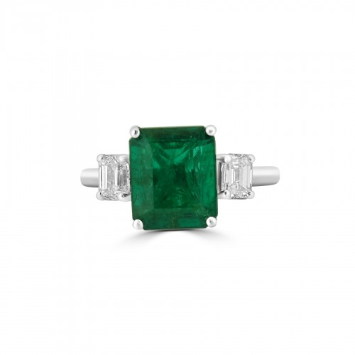 Emerald Octagon 1.61ct with 2x Diamond Octagon 3 Stone Ring