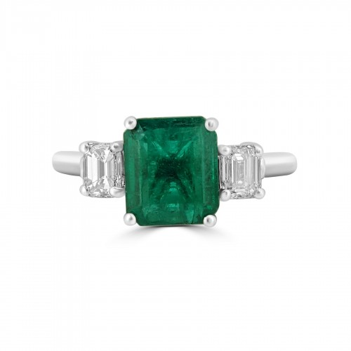 Emerald Octagon 1.52ct with 2x Diamond Octagon 3 Stone Ring