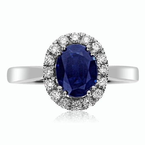 Sapphire Oval with Diamond RBC Cluster Fine Surround Ring