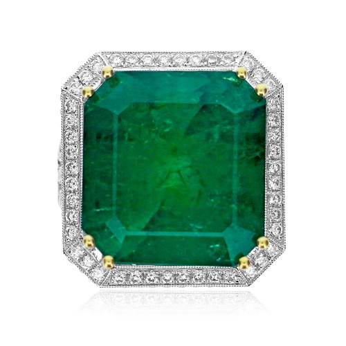 Emerald with Diamond Halo, Sides & 3 Row Split Shoulders Ring