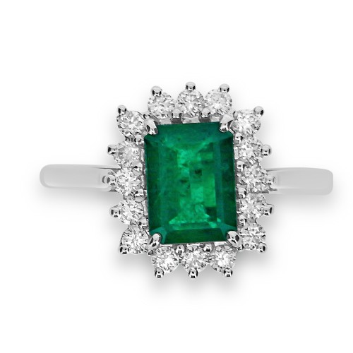 Emerald Octagon 1.25ct w/ 16x RBC 0.38ct Cluster Ring