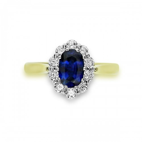 Sapphire Oval with Diamond RBC YWG Cluster Ring