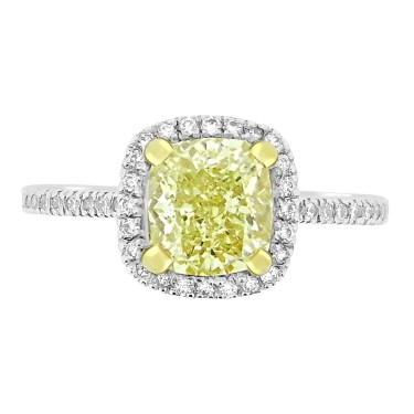 Diamond Fancy Light Yellow Cushion Halo Ring
