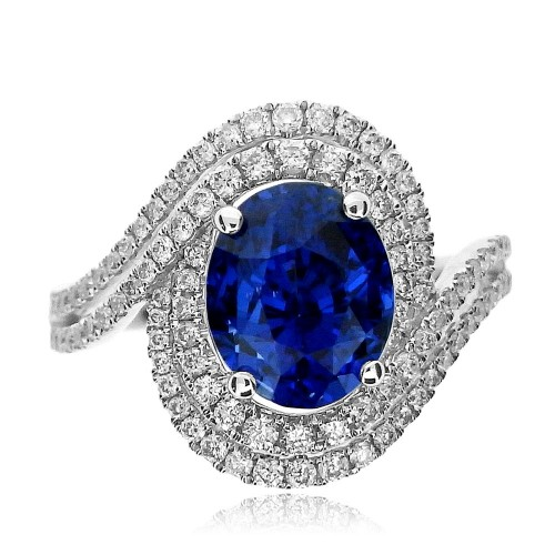 Sapphire Oval with Diamond Double Wave Halo Surround Ring