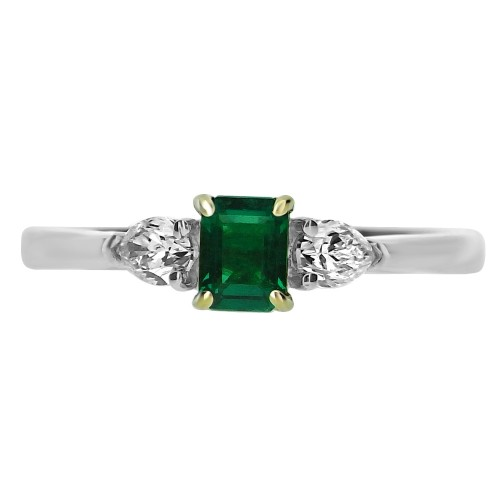 Emerald Octagon with Diamond Pear Shapes 3 Stone Ring