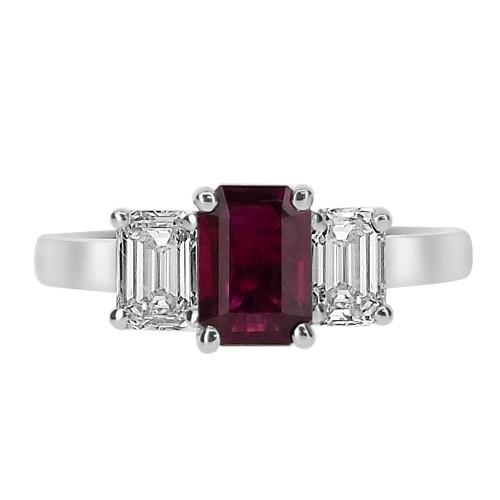 Ruby Emerald Cut with Diamond Emerald Cuts 3 Stone Ring